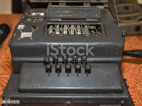 857874170 istock photo The Enigma Cipher Coding Machine from World War II 857874170