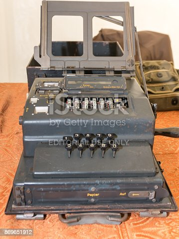 857874170 istock photo The Enigma Cipher Machine from World War II 869651912