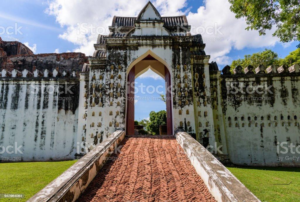 The entrance gate of the palace of King Narai in Ayutthaya Kingdom stock photo