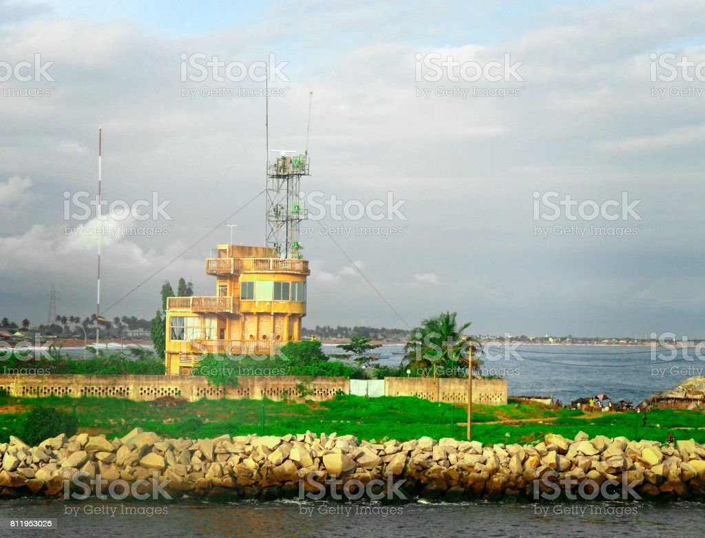 the entrance of abidjan harbour stock photo