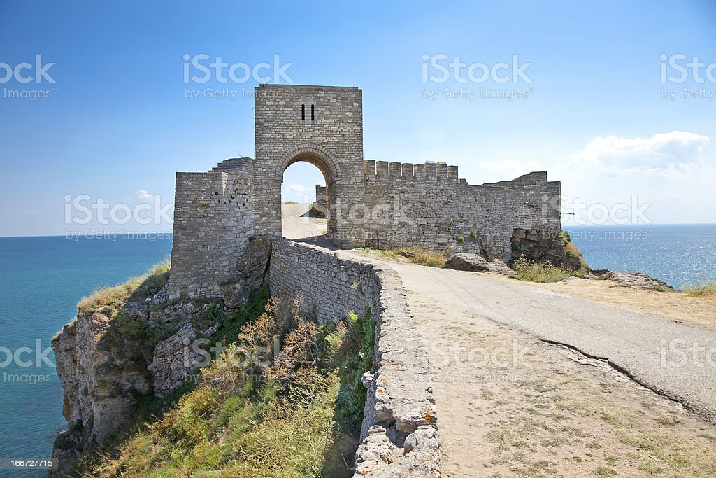 The entrance of citadel Kaliakra in Bulgaria. stock photo