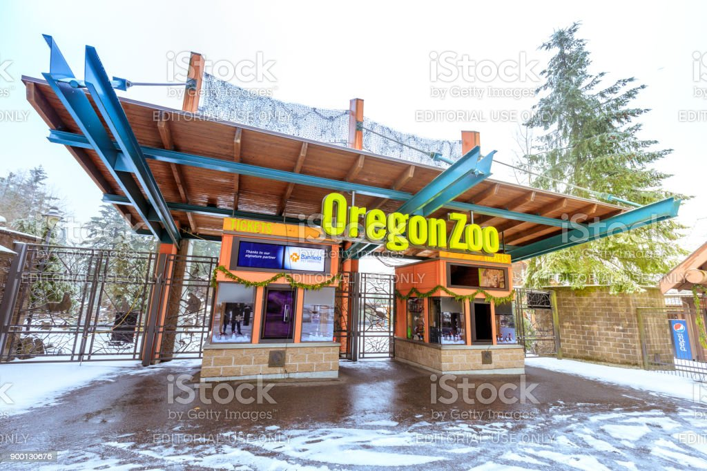 The entrance of Oregon Zoo in Washington Park station at winter season stock photo