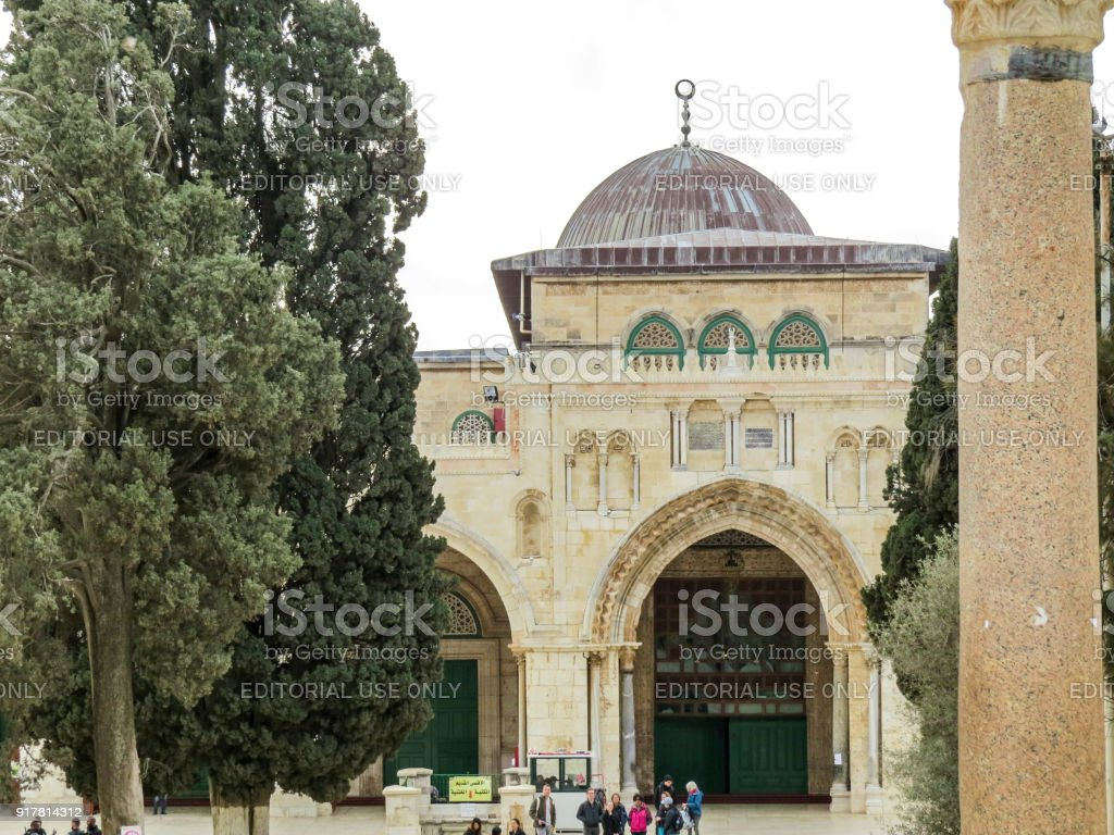 The entrance of the Al-Aqsa Mosque on the Temple Mount  in Old City of Jerusalem stock photo
