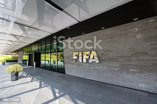 Zurich, Switzerland - 1 October, 2015: The entrance of the FIFA headquarter in Zurich. The International Federation of Association Football is the governing body of association football, futsal and beach football. FIFA is responsible for the organisation of football's major international tournaments, notably the World Cup.