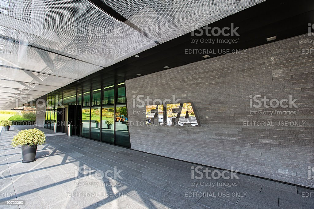 The entrance of the FIFA headquarter in Zurich stock photo