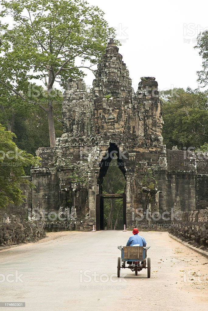 The Entrance To Angkor Thom In Cambodia royalty-free stock photo