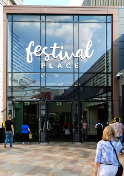 The Entrance to Festival Place shoppng centre from the Malls stock photo