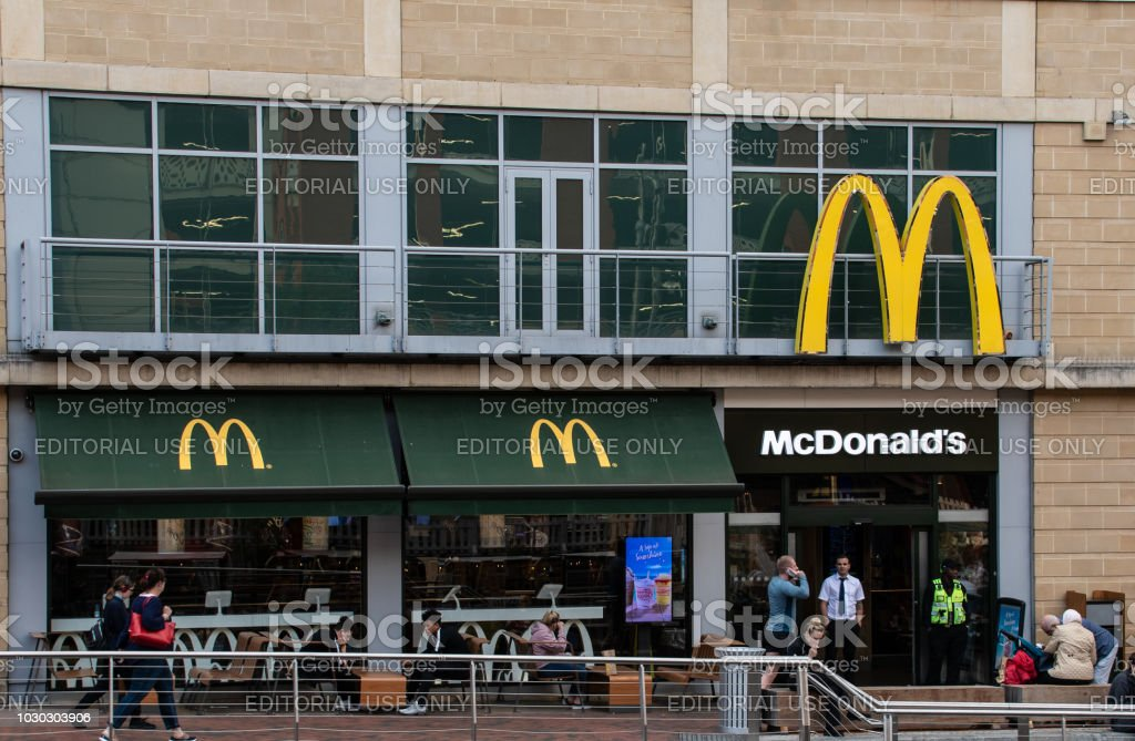 The Entrance to McDonalds restaurant at Riverside stock photo