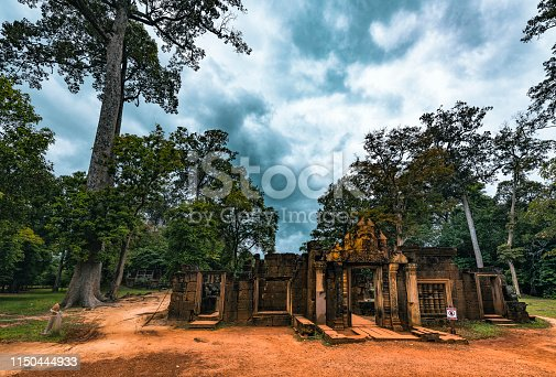 An ultra wide angle view of this classic Cambodian landscape, featuring the gates of the temple.