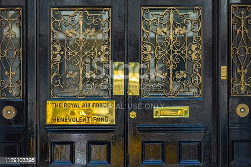 The entrance to the RAF Benevolent Fund headquarters in London, UK. The Benevolent fund is the official charity to support RAF personnel past and present including their relatives and does really good work for those in need.