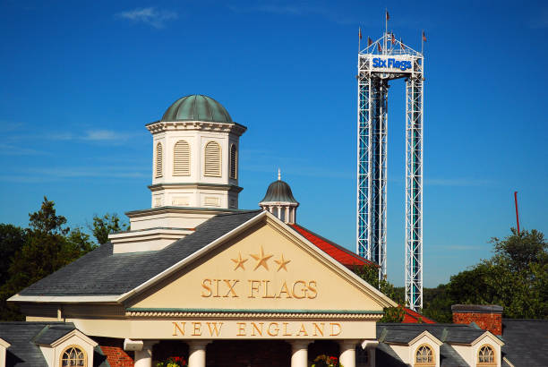 The entrance to the Six Flags Amusement Park stock photo