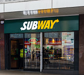 Birmingham, England - March 17 2019:   The entrance to the Subway sandwich store on Bull Street