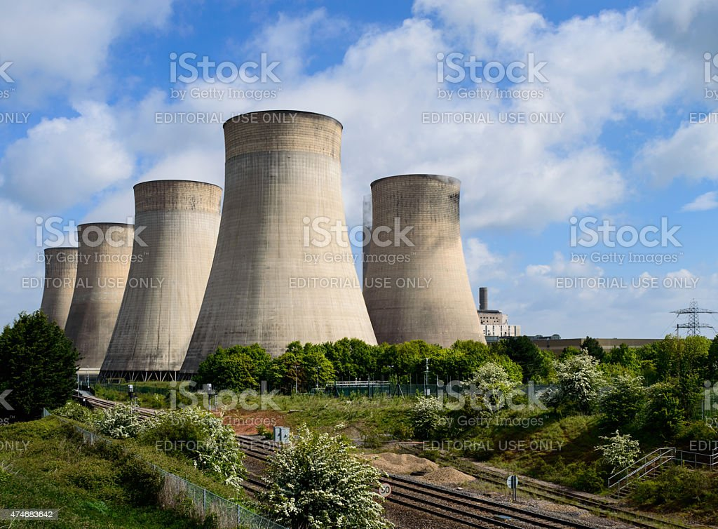 The E.ON UK power station at Ratcliffe-on-Soar cooling towers stock photo
