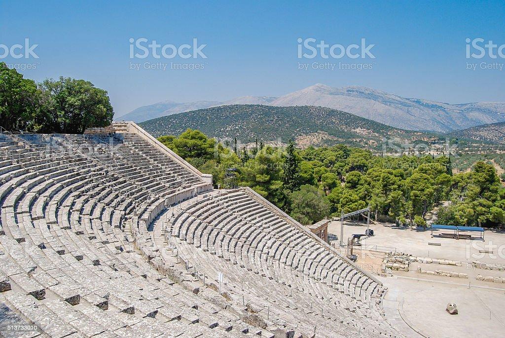 The Epidaurus classical theatre in Greece stok fotoğrafı