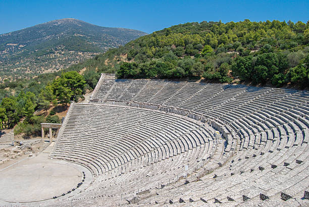 The Epidaurus theatre in Greece stock photo