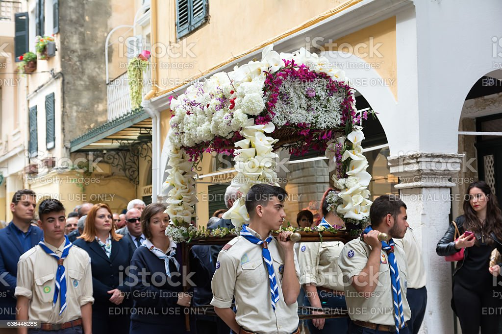 The epitaph processions of Good Friday in Corfu, Greece. stock photo