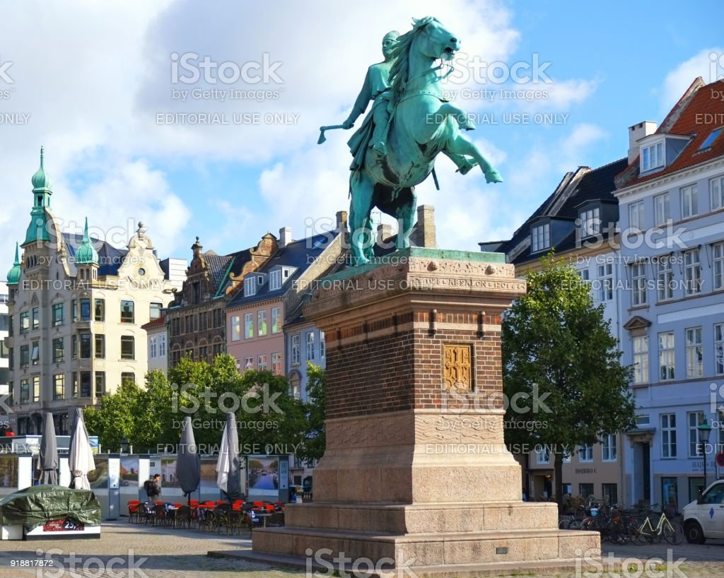 The equestrian statue of Bishop Absalon on  the Hojbro Plads. stock photo