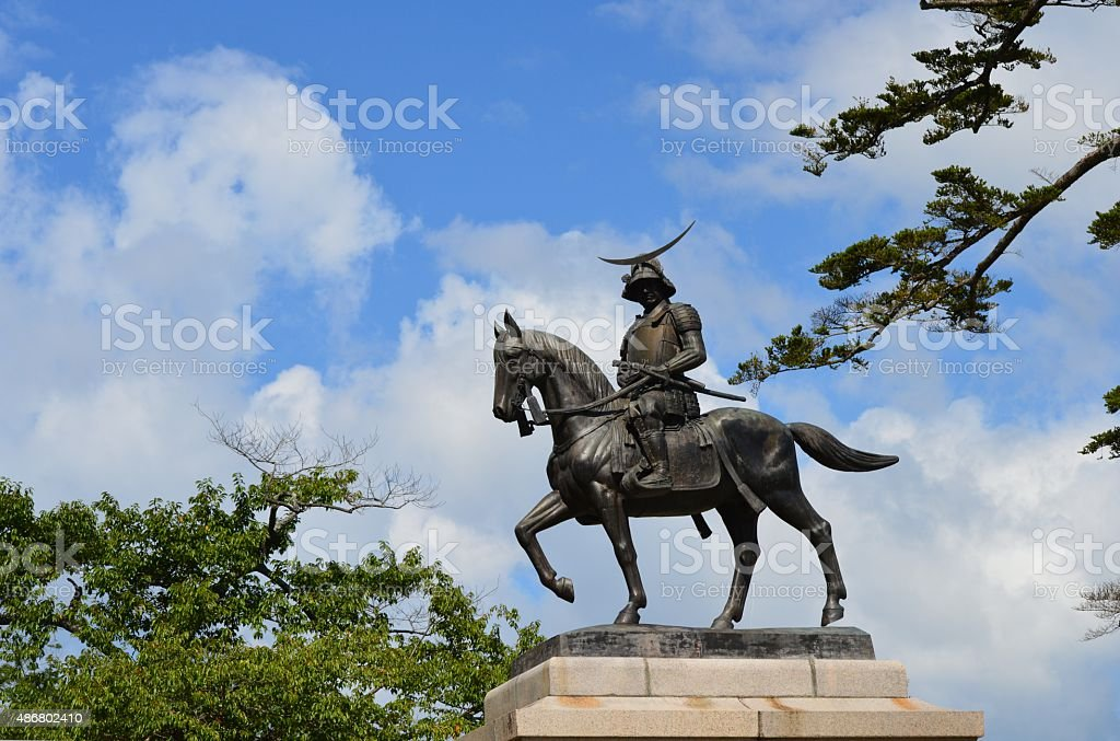 The equestrian statue of date Masamune stock photo