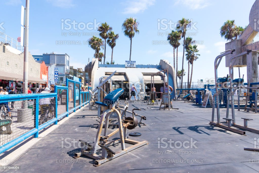 The equipment in Muscle Beach Venice, Los Angeles. stock photo