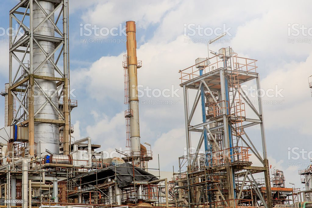 The equipment of oil refining Industrial zone. stock photo