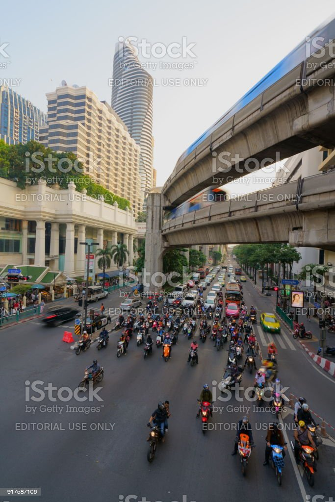 The Erawan Shrine at Ratchaprasong Intersection at Day time, on January 05, 2018 in Bangkok, Thailand. stock photo