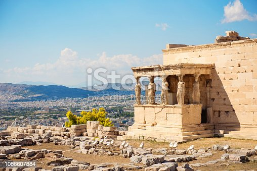 Beautiful view on the  Erechtheion of Athenian Acropolis, the architectural masterpiece of Ancient Greece. Touristic place to visit.