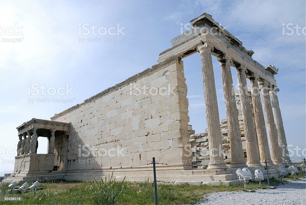 The Erechtheum with Caryatid Columns, Acropolis, Athens stock photo