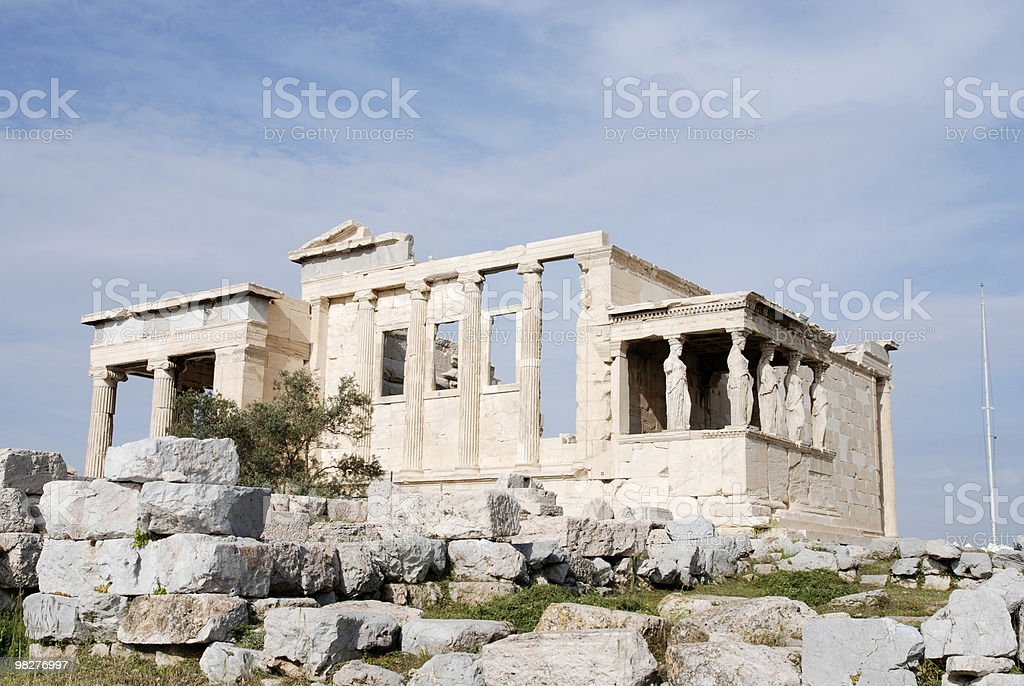 The Erechtheum with Caryatid Columns, Acropolis, Athens royalty-free stock photo