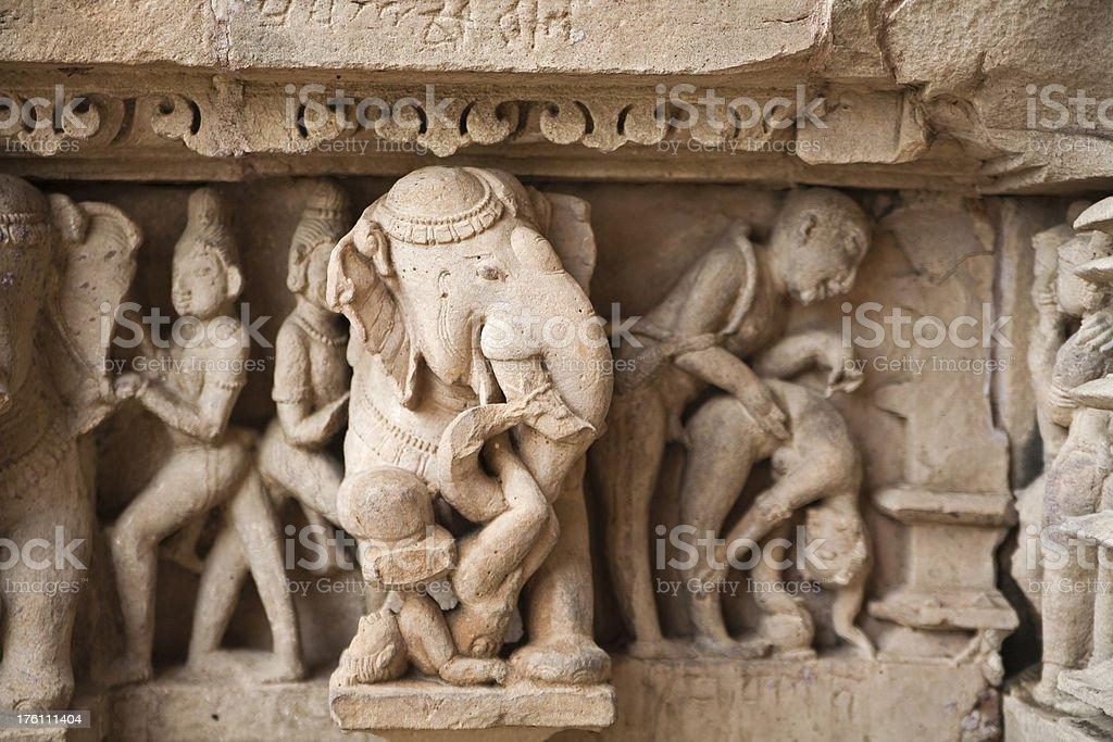 The erotic statues in Khajuraho royalty-free stock photo