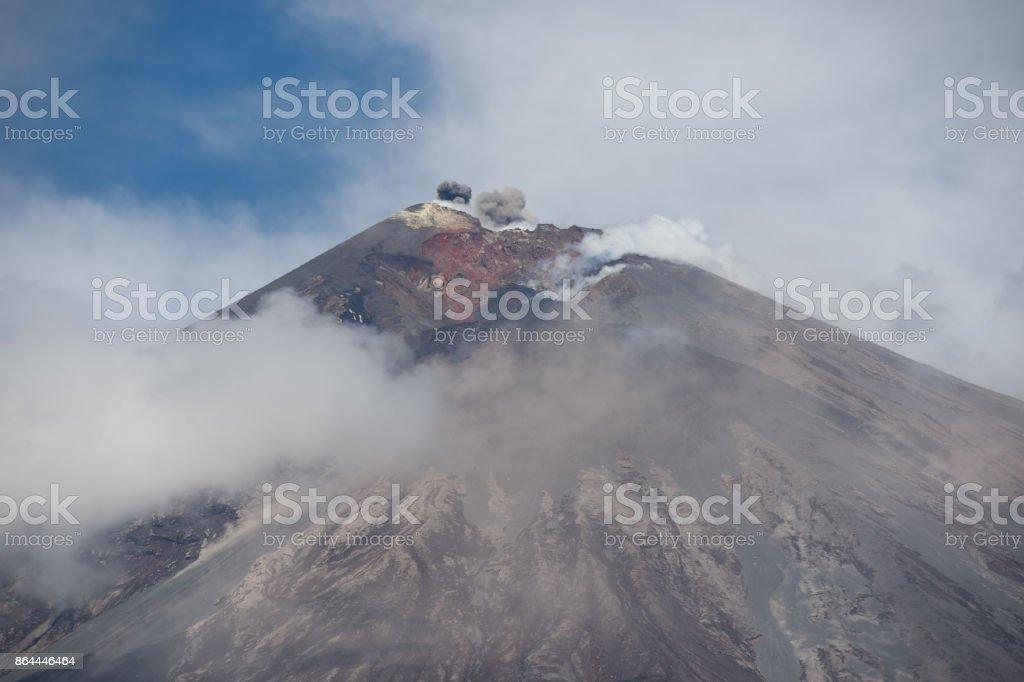 The eruption of the volcano Klyuchevskoy stock photo