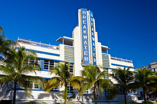 The Esplendor Hotel Breakwater South Beach Miami, Florida, USA - October 25, 2014:  The Esplendor Hotel Breakwater on Ocean Drive in South Beach, Miami, Florida. groyne stock pictures, royalty-free photos & images
