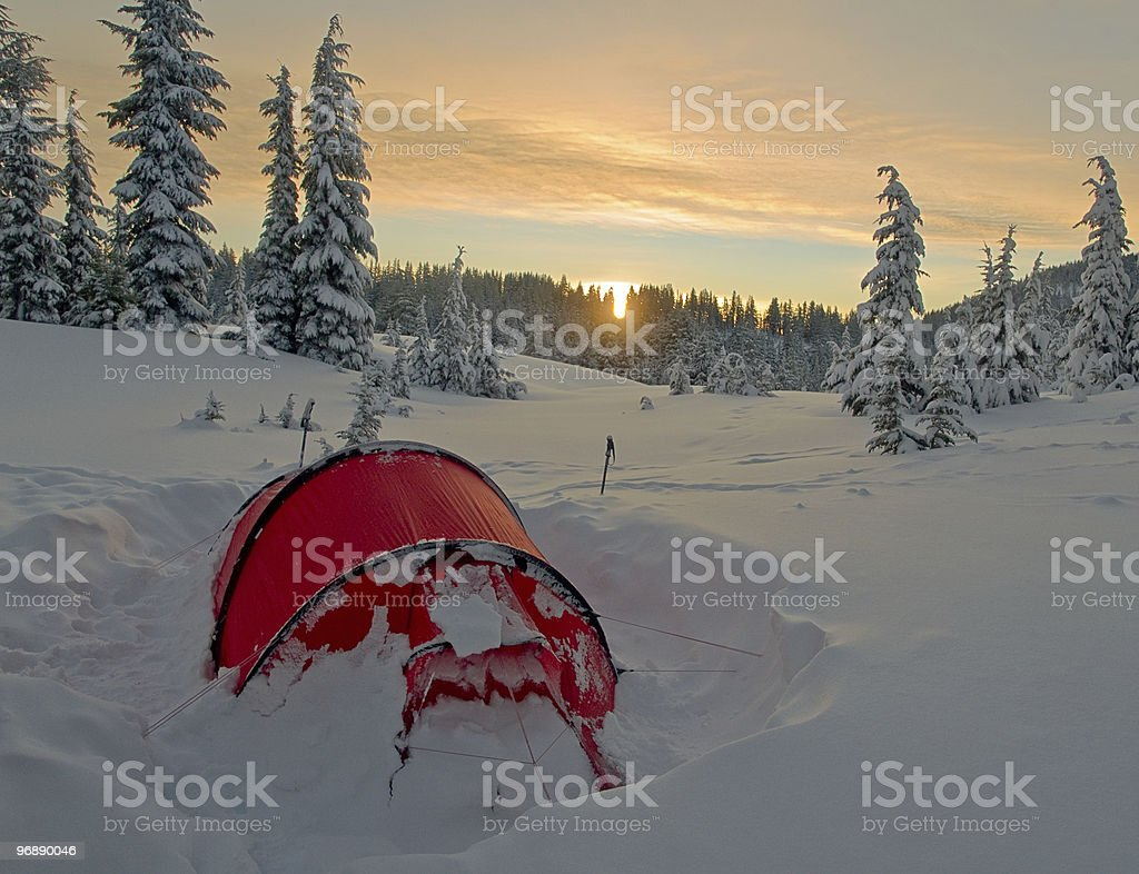 The essence of winter camping royalty-free stock photo