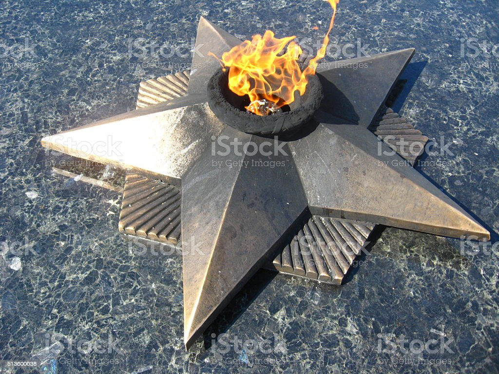 The eternal fire to the lost soldiers stock photo