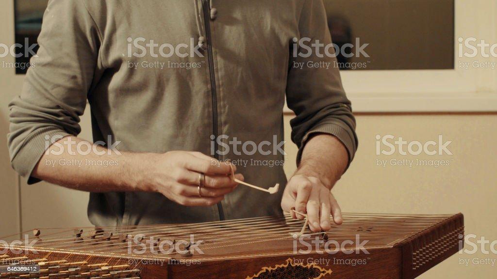 The ethnic musical instrument - santur stock photo