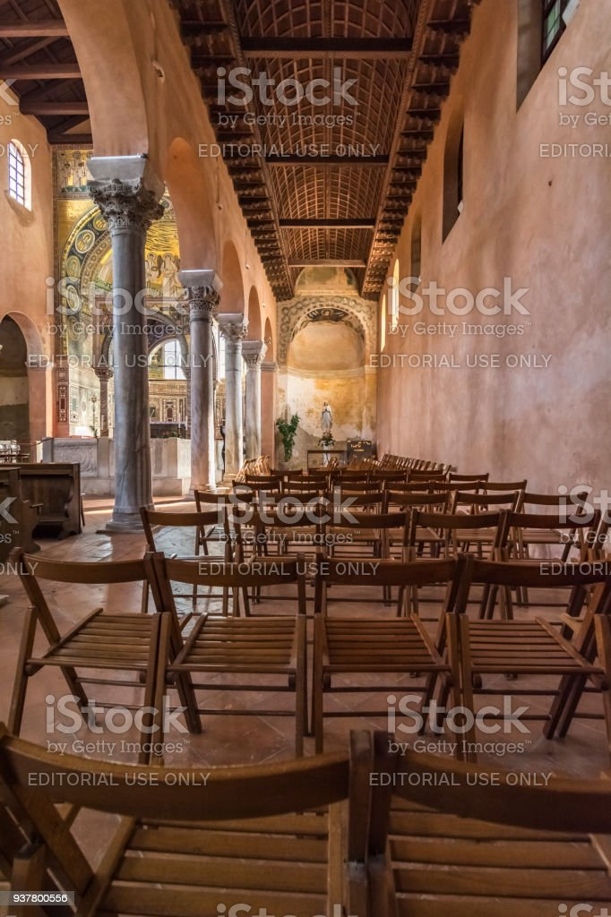 The Euphrasian Basilica - typical Byzantine apse decorated by mosaics have the visit of the All around the word tourist. stock photo