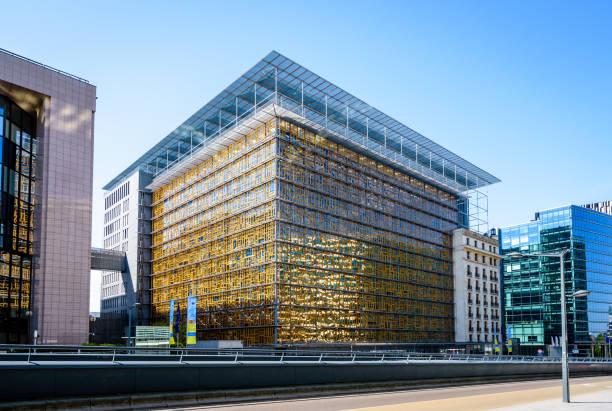 Le bâtiment Europa dans le quartier européen à Bruxelles, en Belgique, un jour ensoleillé. - Photo