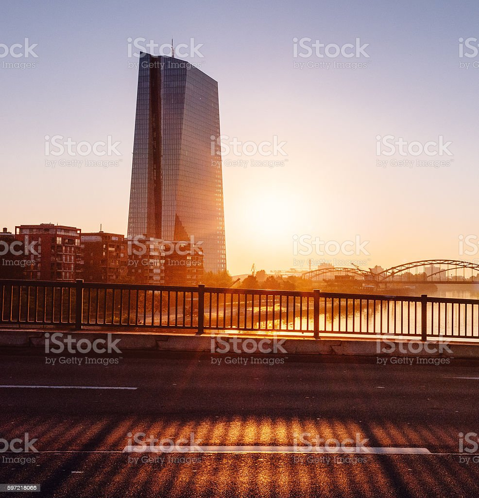 The European Central Bank building during sunrise stock photo