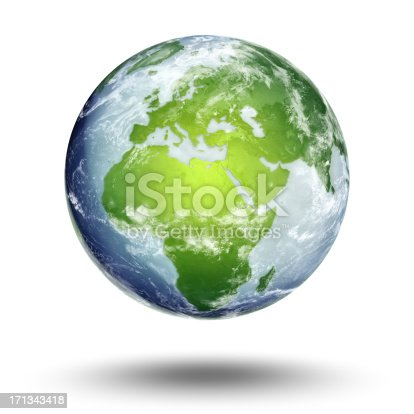 A blue and green 3D Rendering of Earth with Clipping Path