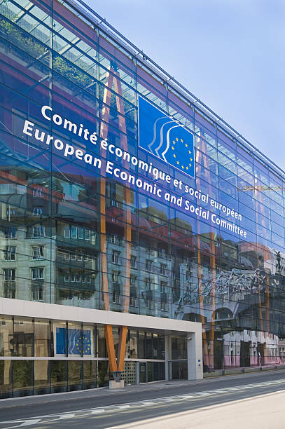 The European Economic and Social Committee building in Brussels stock photo