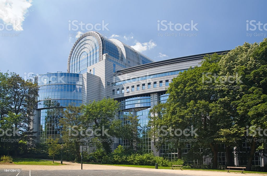 The European Parliament building in Brussels stock photo