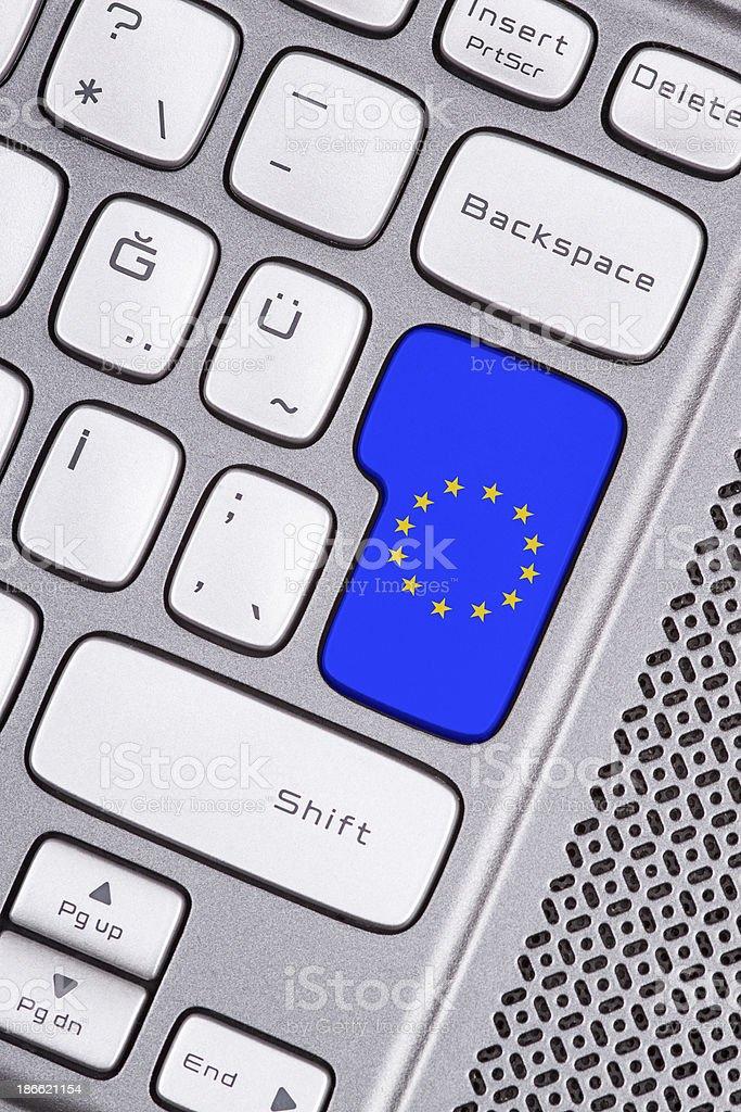 the european union flag button royalty-free stock photo
