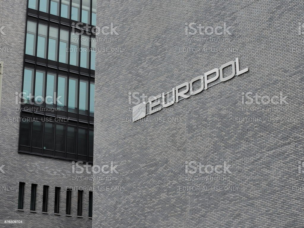 The Europol wording on the head office in the Hague.