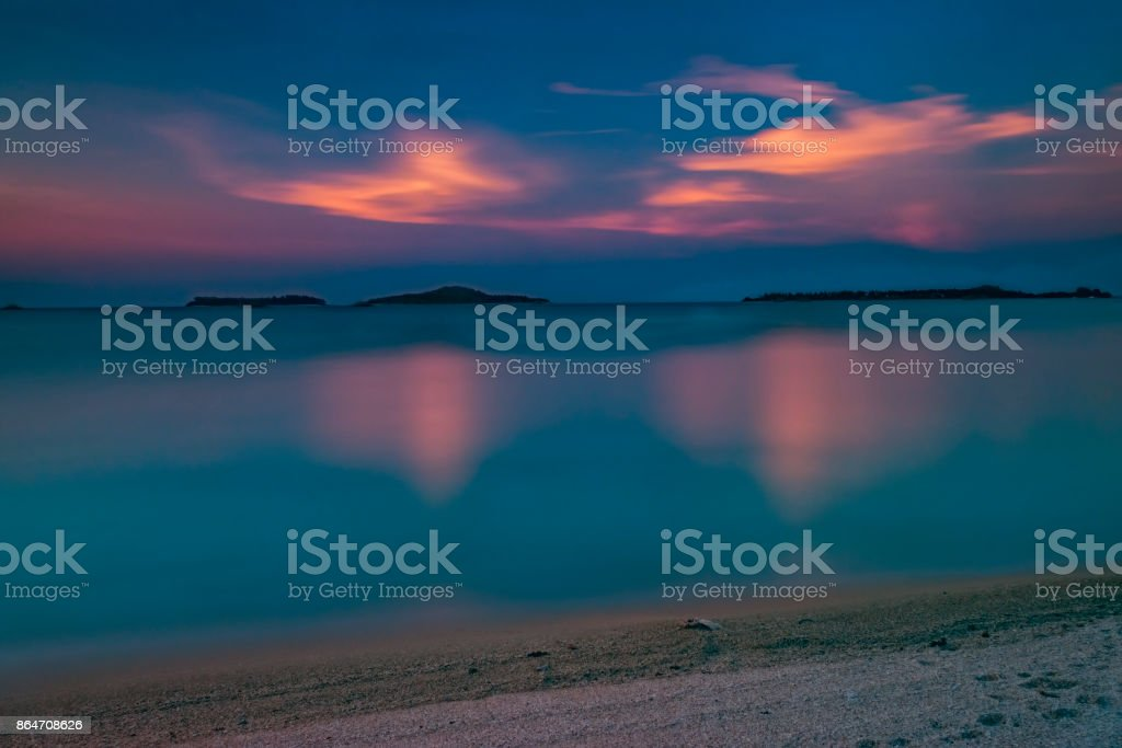 The evening landscape by the sea stock photo