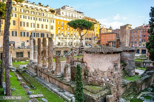 Rome, Italy, January 16 - A evening view of the Roman Forum in Largo Argentina square, a few hundred meters from Piazza Venezia and the Imperial Forum. According to tradition, it was in this place where the conspiracy and assassination of Emperor Julius Caesar took place. Image in HD format.