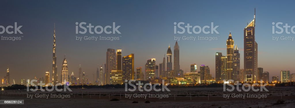 The evening skyline of Downtown with the Burj Khalifa. stock photo