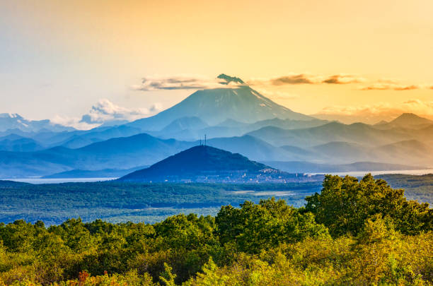 The Evening view from the hill of the city of Petropavlovsk-Kamchatsky - Russia Evening view from the hill of the city of Petropavlovsk-Kamchatsky - Russia kamchatka peninsula stock pictures, royalty-free photos & images