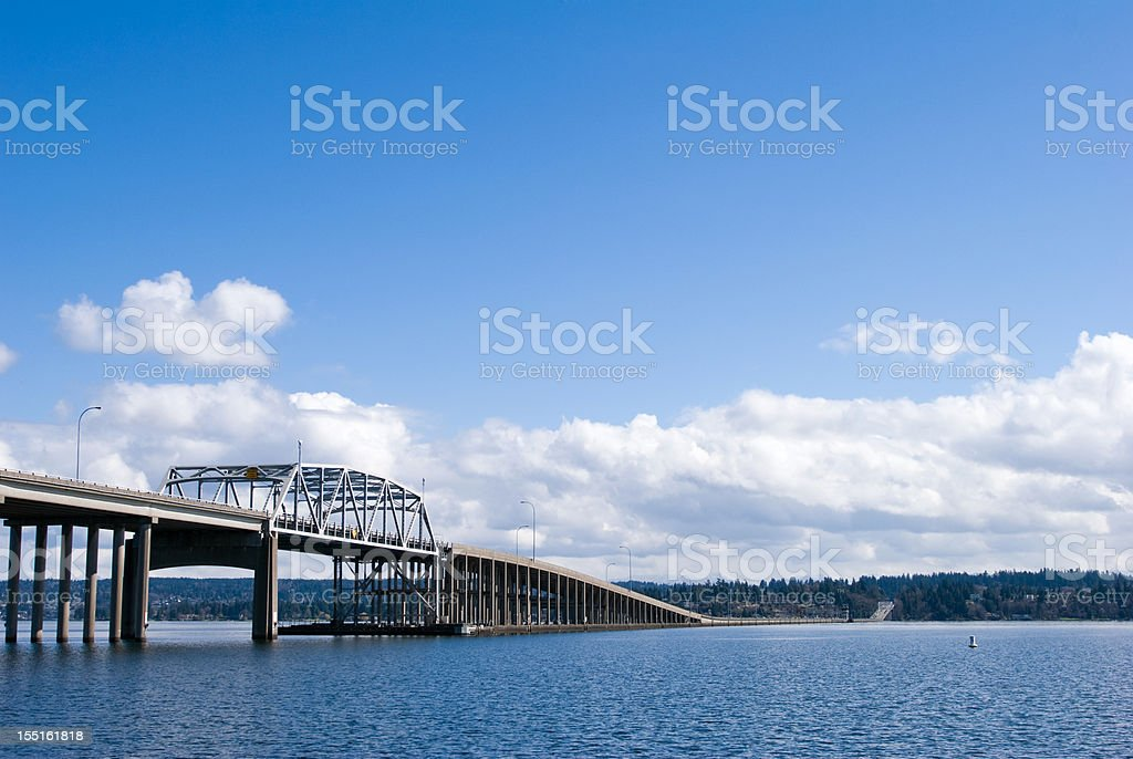 The Evergreen Point Floating Bridge on Lake Washington royalty-free stock photo