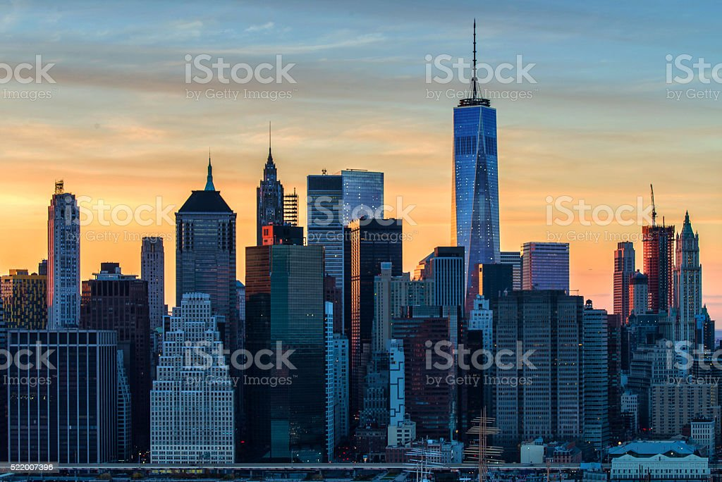The evolving Downtown Manhattan skyline stock photo