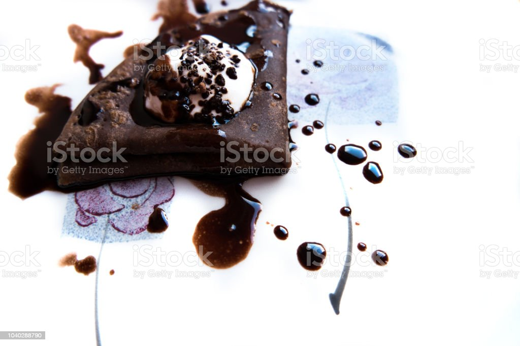 The excellente cocoa pancake with dark chocolate stock photo