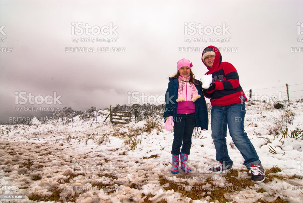 The excitement of tourists when seeing snow in Urubici, Santa Catarina, Brazil stock photo